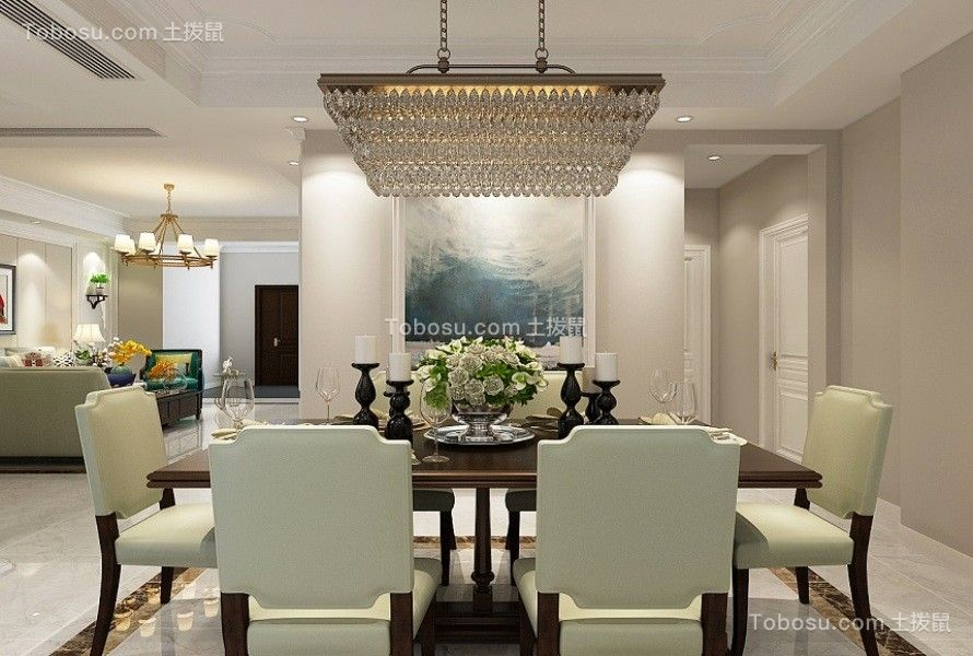 餐厅咖啡色餐桌美式风格装饰图片