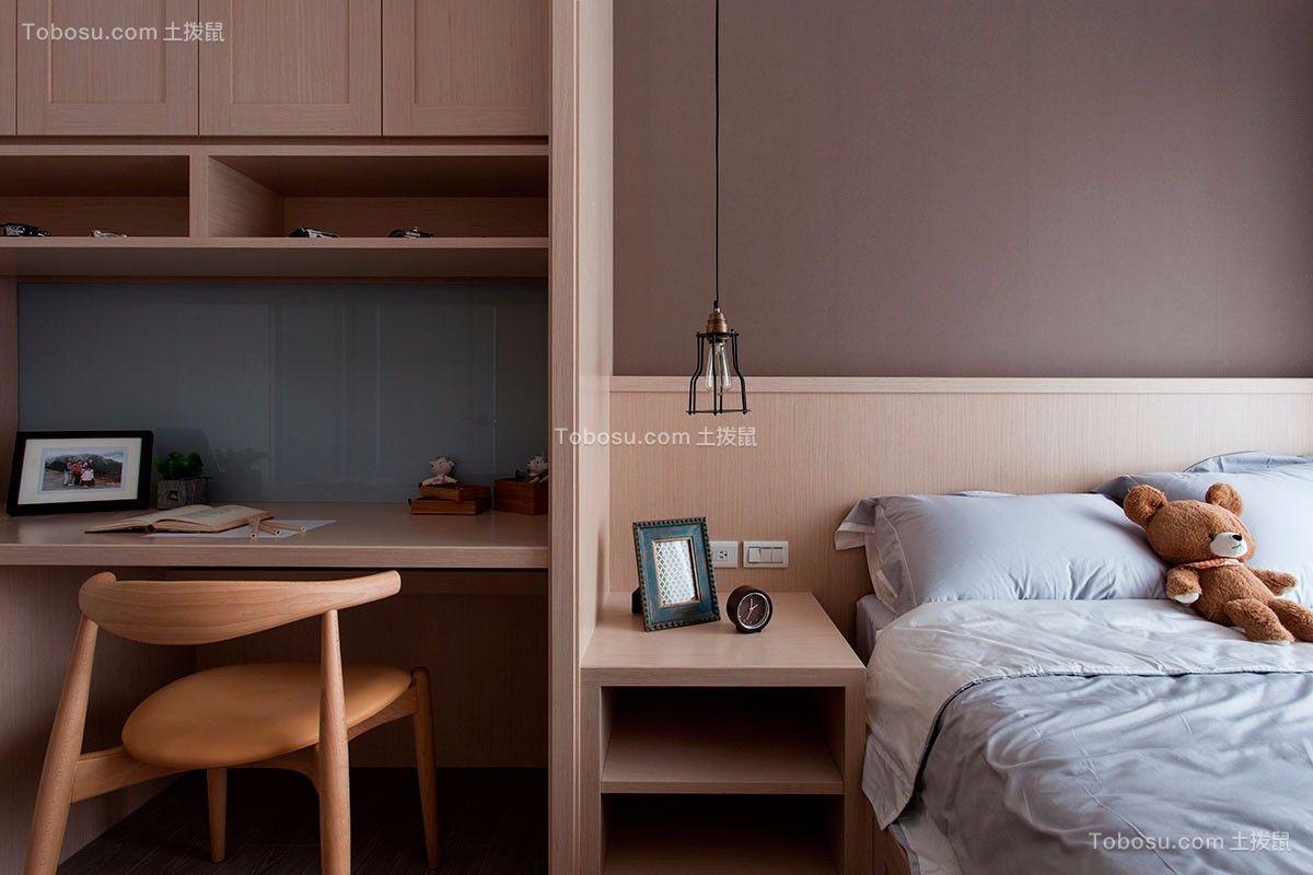 卧室咖啡色书桌美式风格装修图片