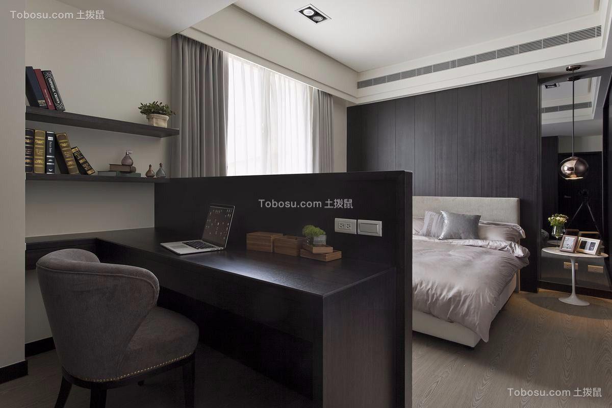 卧室黑色书桌美式风格装潢图片