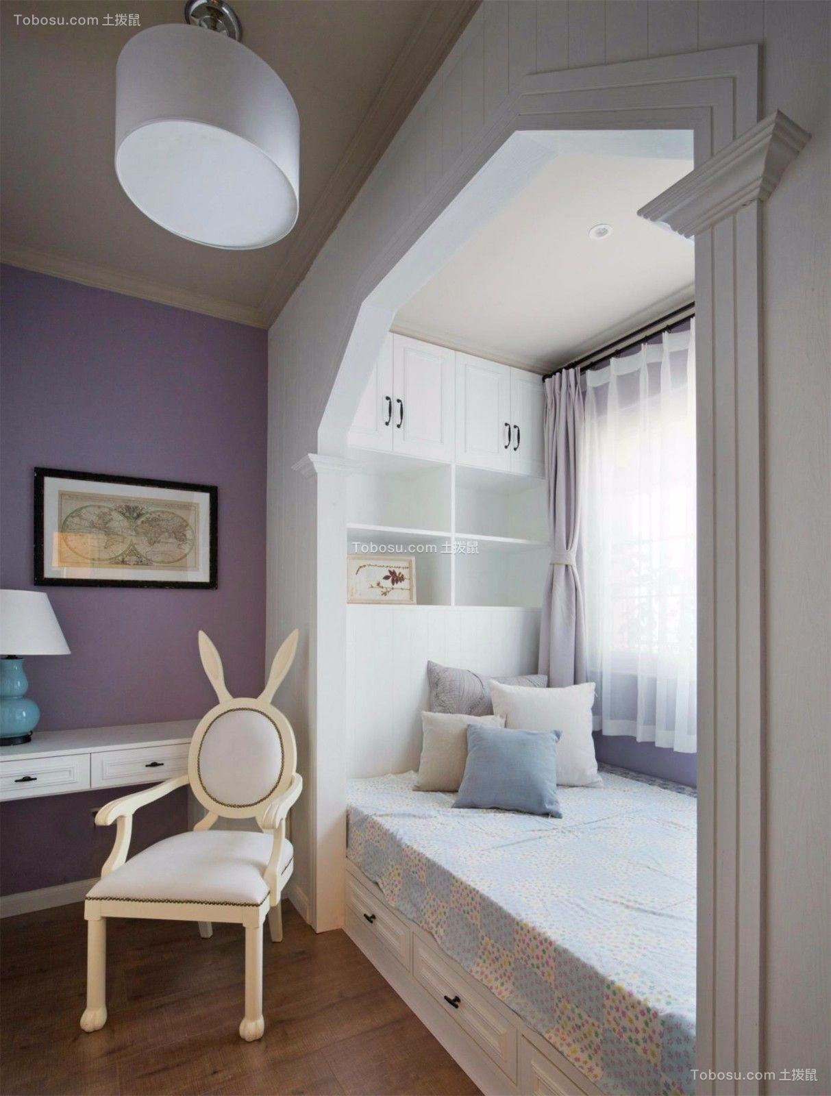卧室白色书桌美式风格装潢设计图片