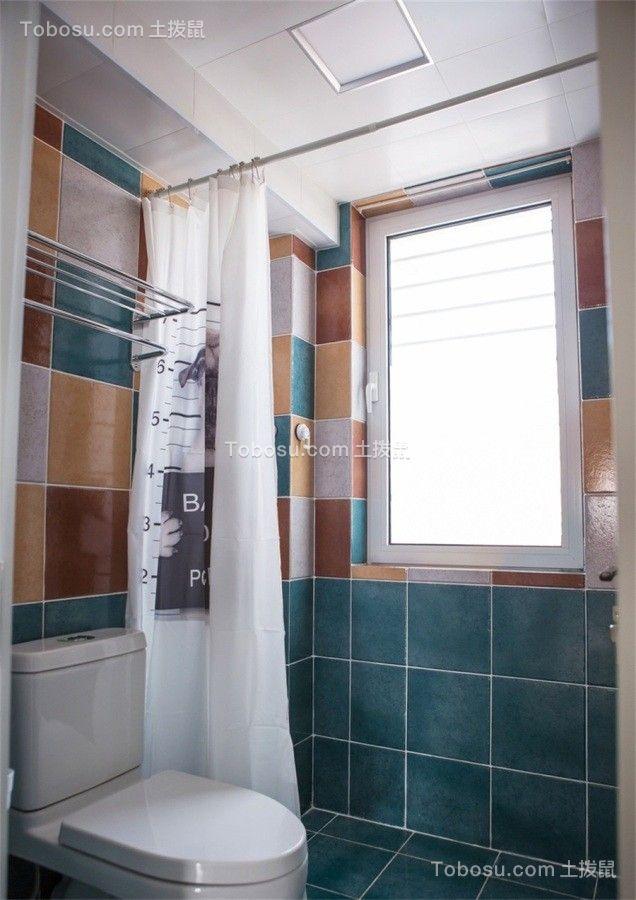 卫生间蓝色地砖美式风格装潢图片