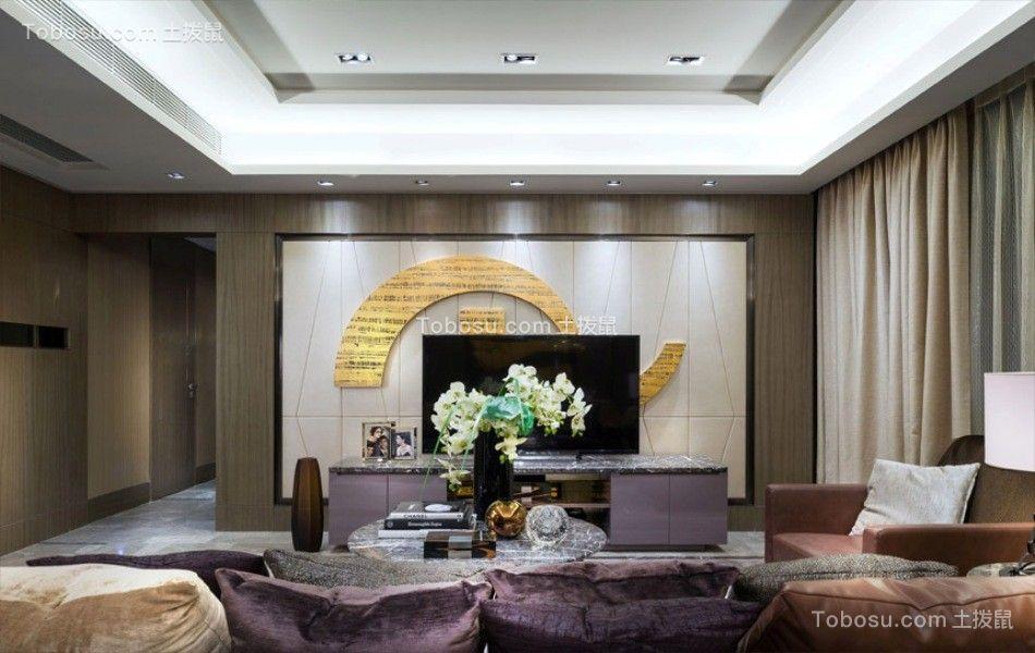 客厅米色电视背景墙混搭风格装饰图片
