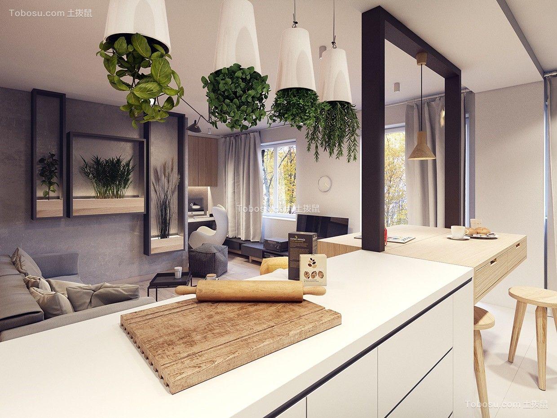 厨房米色厨房岛台现代简约风格装饰效果图