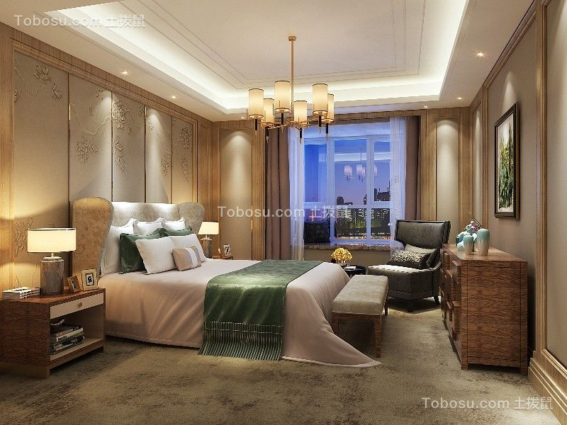 卧室咖啡色窗帘混搭风格装修效果图