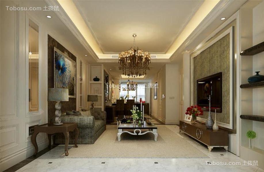 中式风格150平米三室两厅新房装修效果图