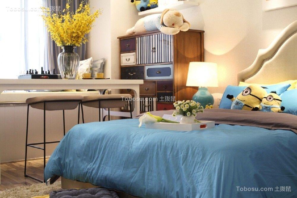 卧室白色书桌简约风格装潢设计图片