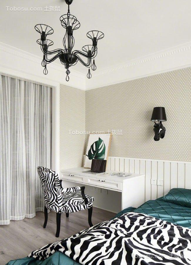 卧室白色书桌美式风格装修图片