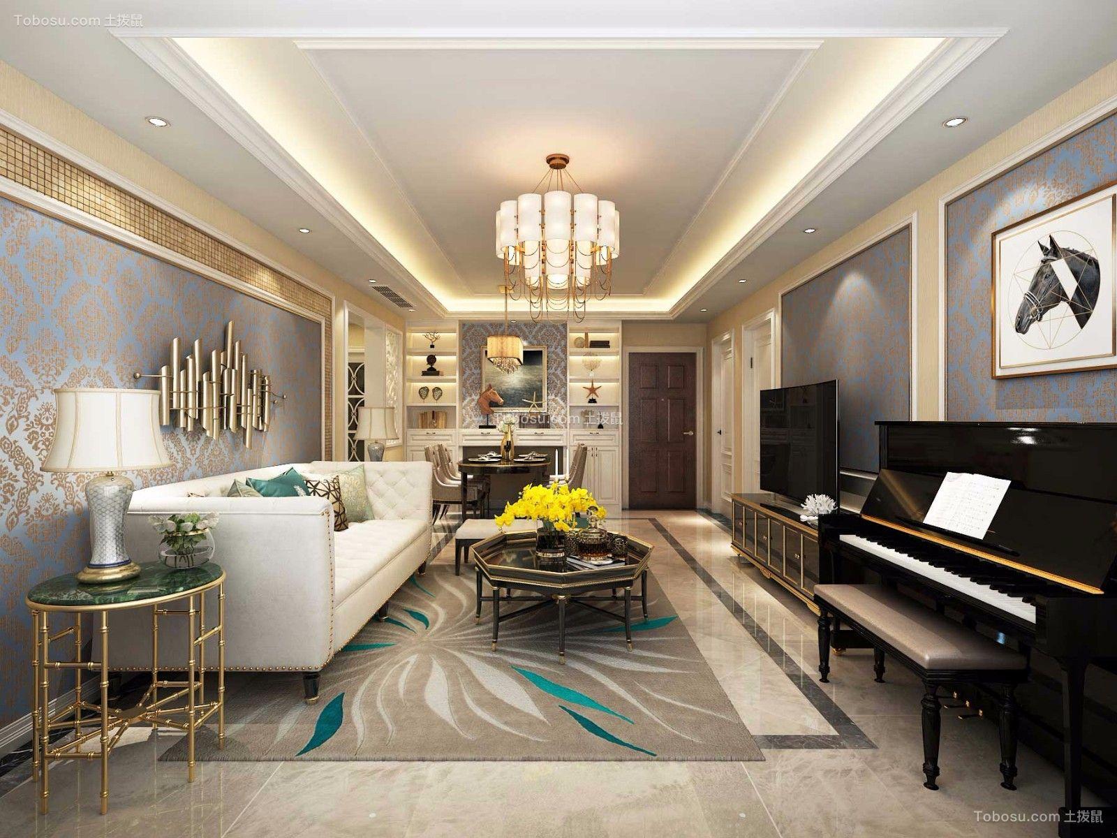 客厅白色沙发美式风格装潢设计图片