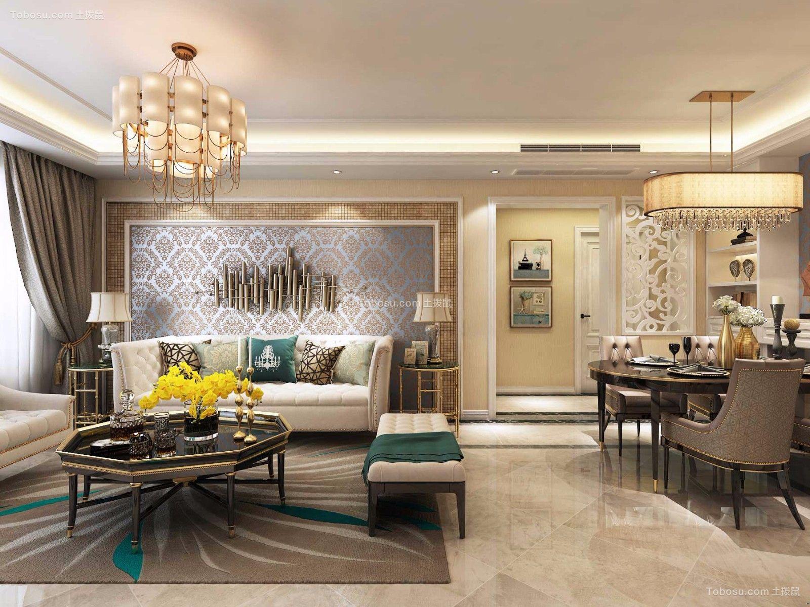 客厅灰色背景墙美式风格效果图