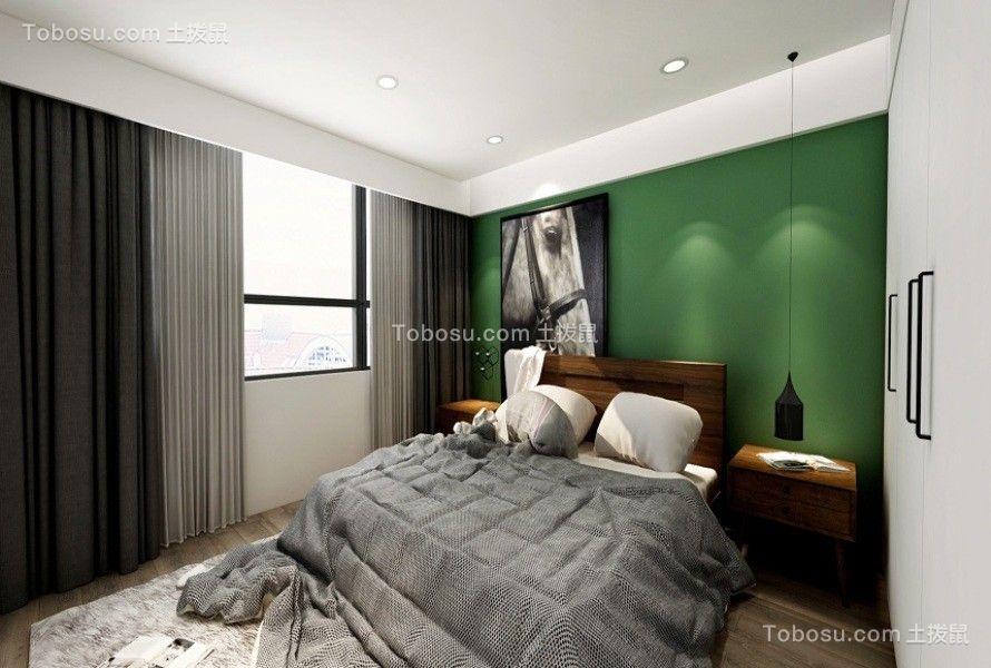 卧室灰色窗帘北欧风格装饰设计图片