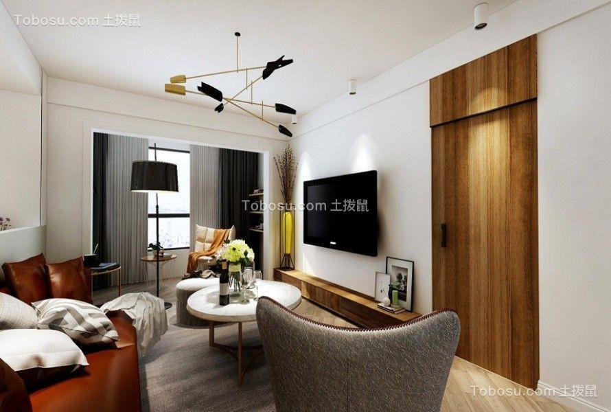 客厅灰色窗帘北欧风格装潢设计图片