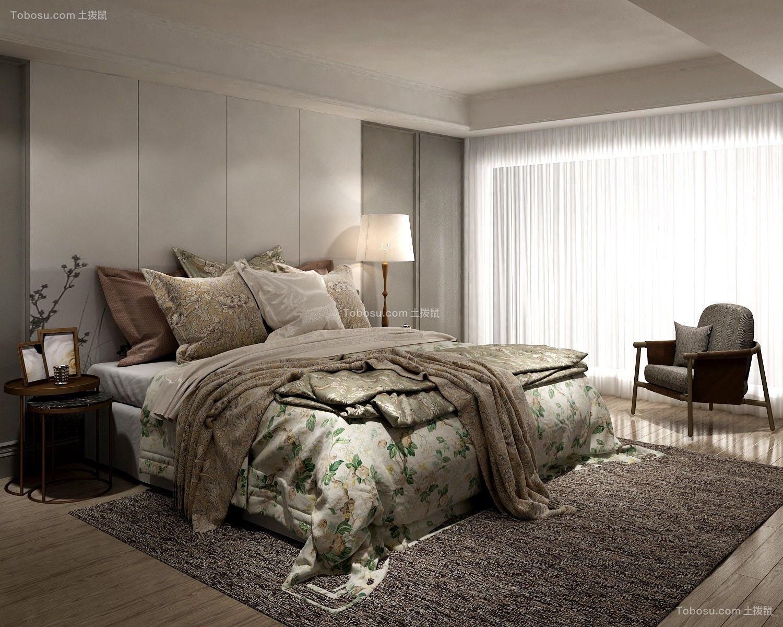 卧室灰色背景墙欧式风格装潢设计图片