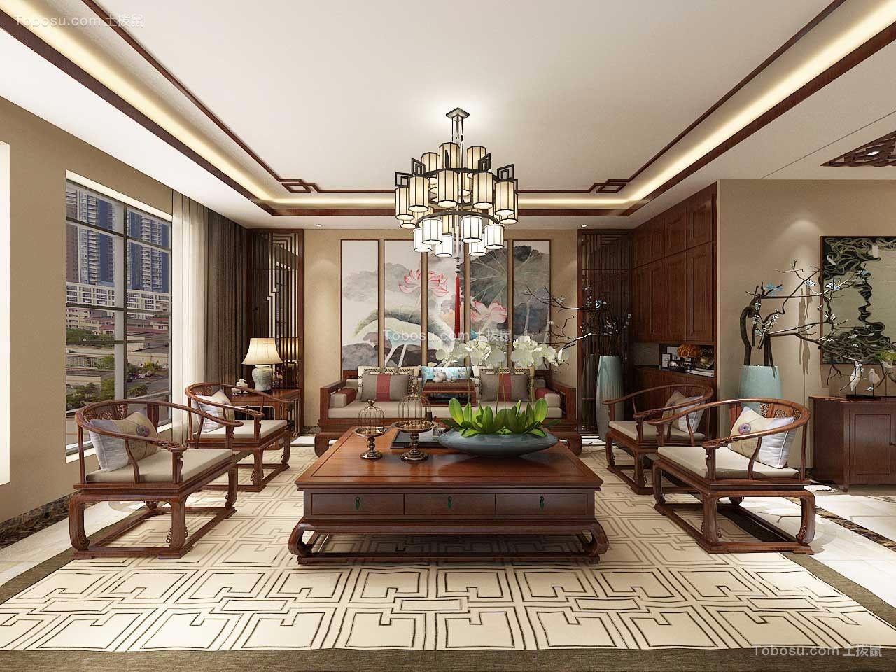 中式风格165平米大户型室内装修效果图
