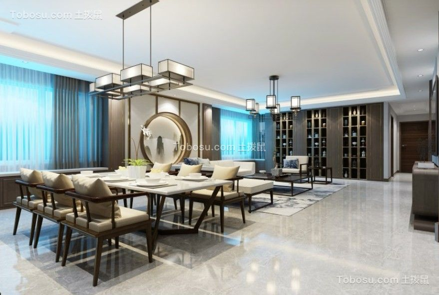 136平新中式风格两居室装修效果图