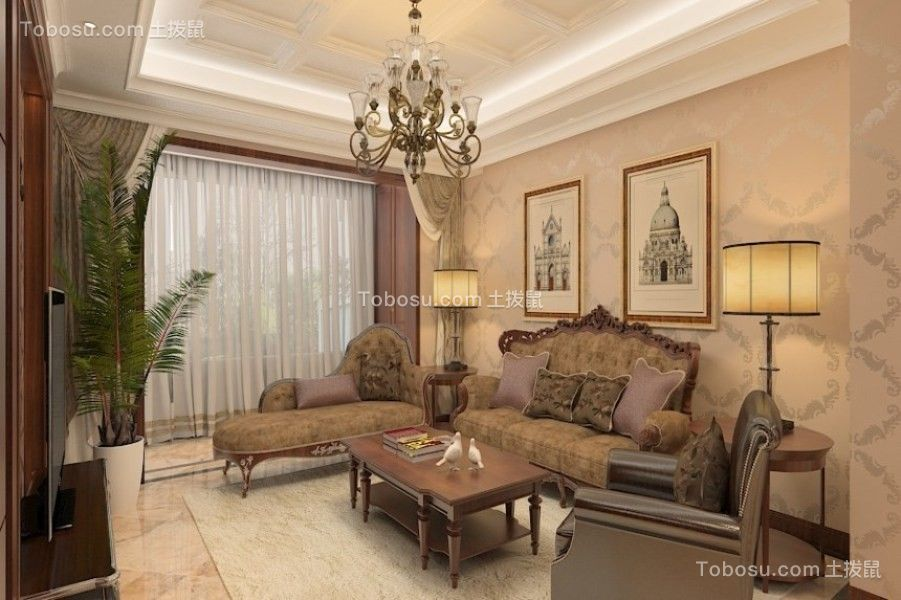 120平欧式风格两居室装修效果图