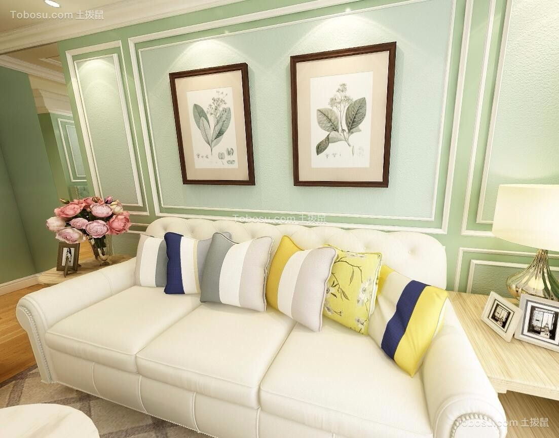 93平美式风格两居室装修效果图