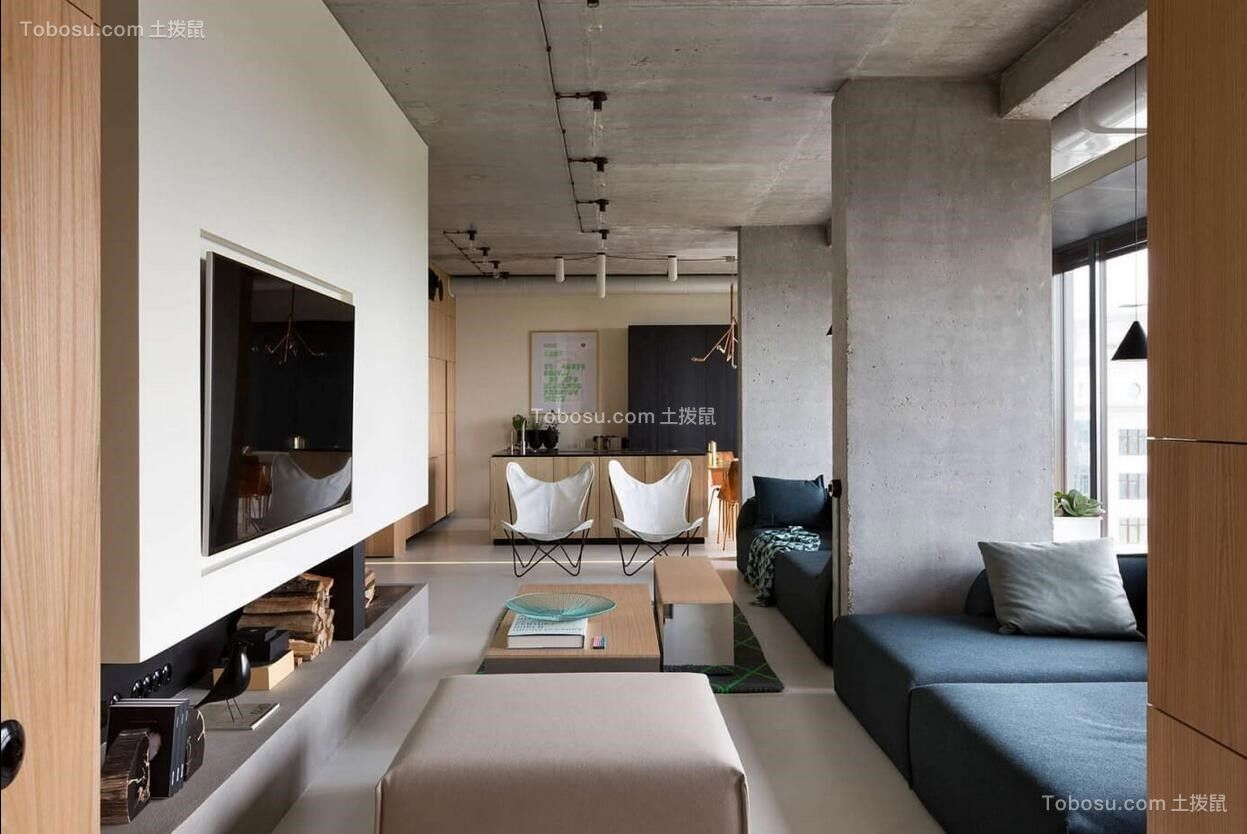 客厅米色电视背景墙简约风格装潢图片