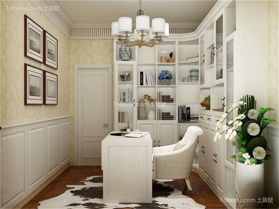 书房白色书桌简欧风格装潢效果图