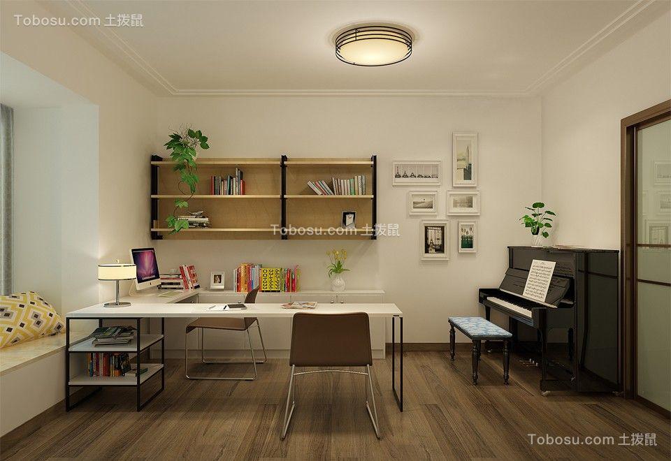 书房米色书桌简欧风格装饰图片