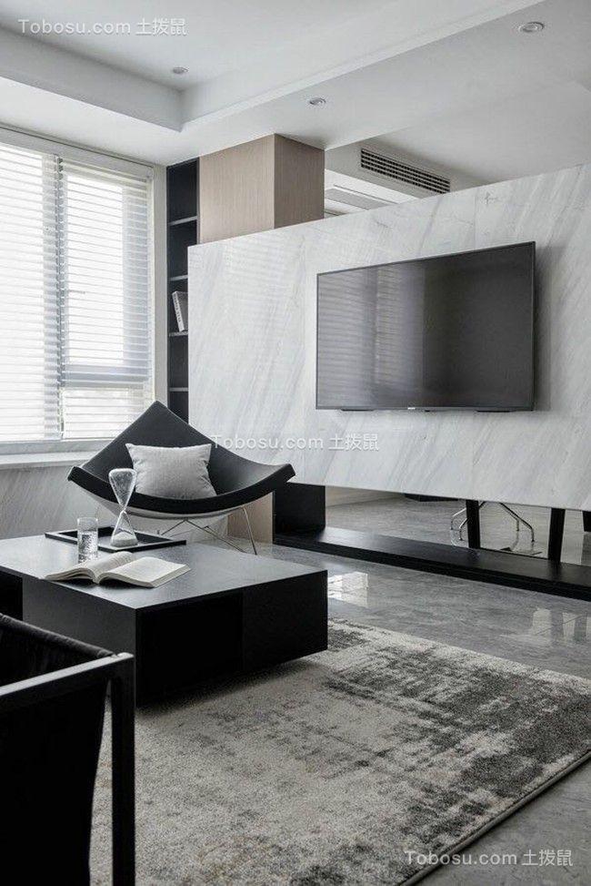 客厅灰色电视背景墙简约风格装修效果图