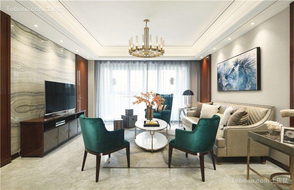 140平新古典风格三居室装修效果图