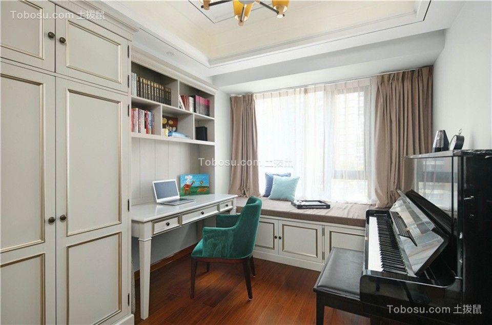 书房米色书桌新古典风格装饰设计图片