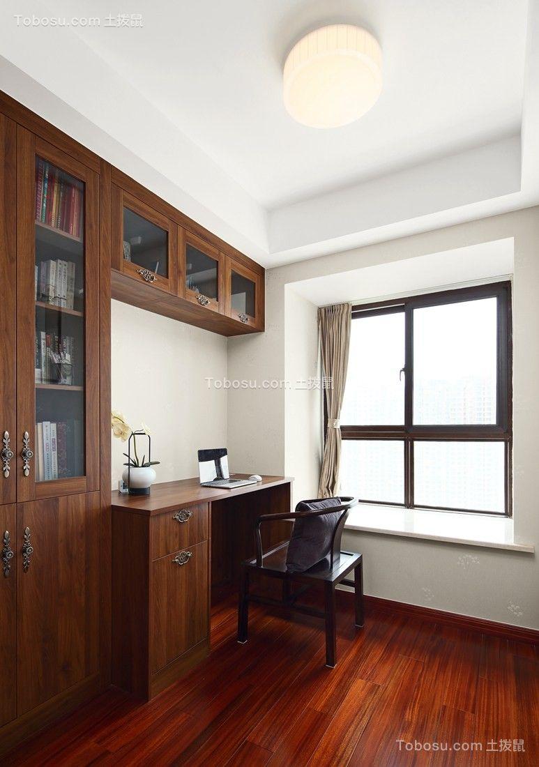 书房咖啡色书桌中式风格装修设计图片