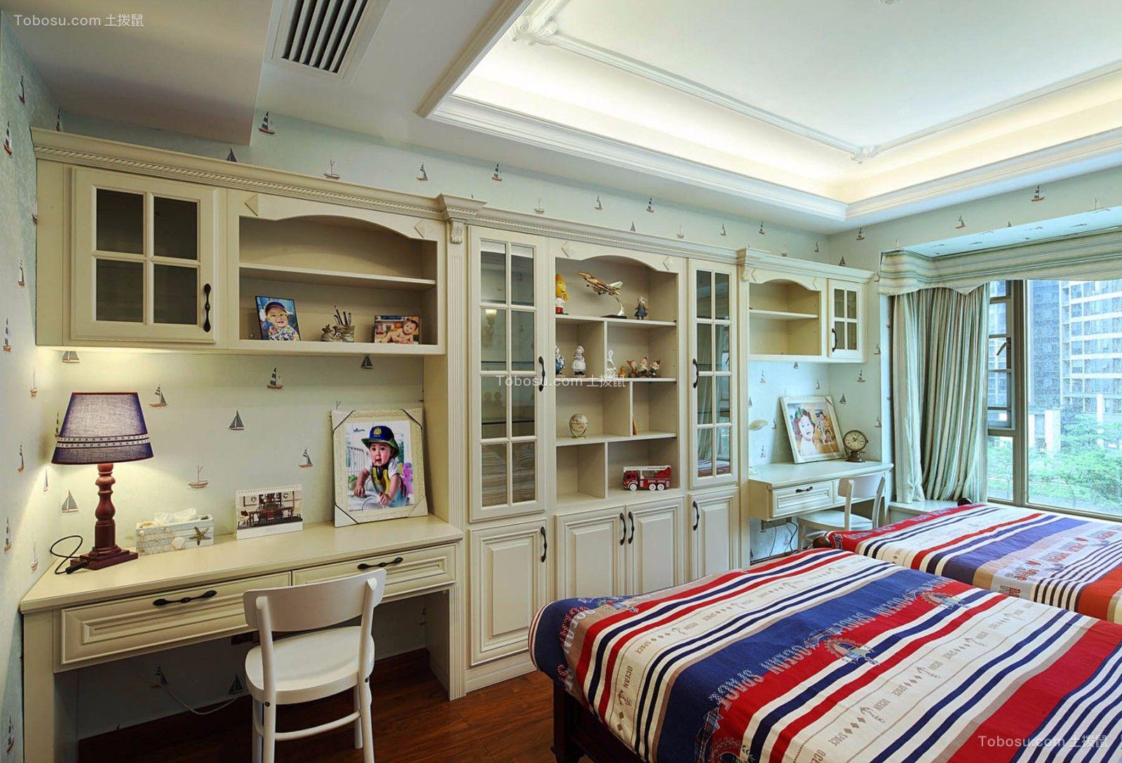 卧室米色书桌美式风格装潢效果图