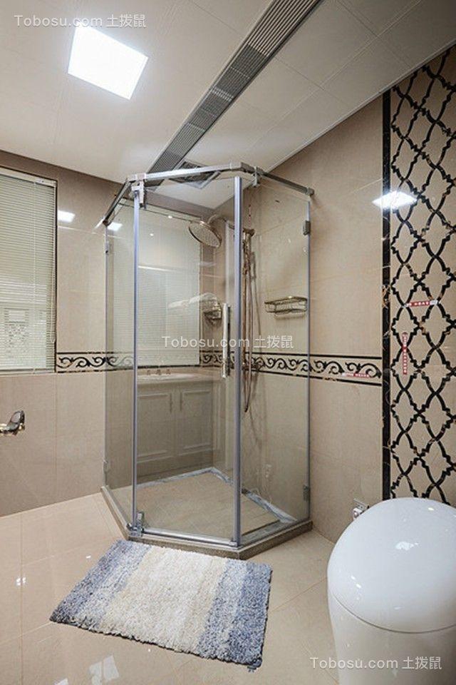 卫生间米色背景墙法式风格装饰效果图