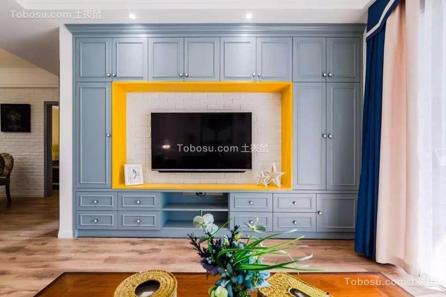 客厅蓝色电视背景墙美式风格装潢效果图