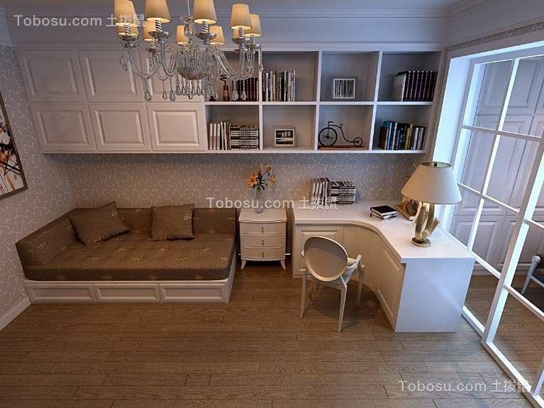 书房白色书桌简欧风格装潢图片