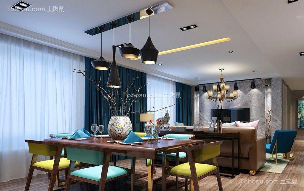 餐厅绿色窗帘后现代风格装潢设计图片