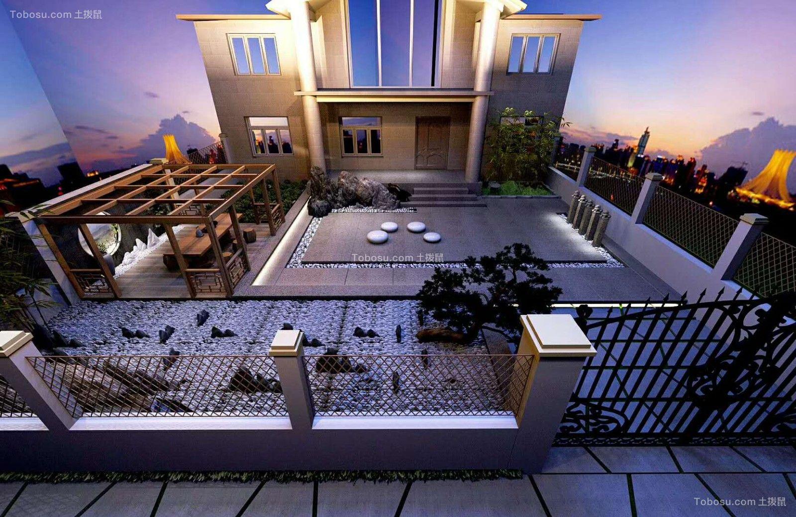 外景地砖新中式设计效果图