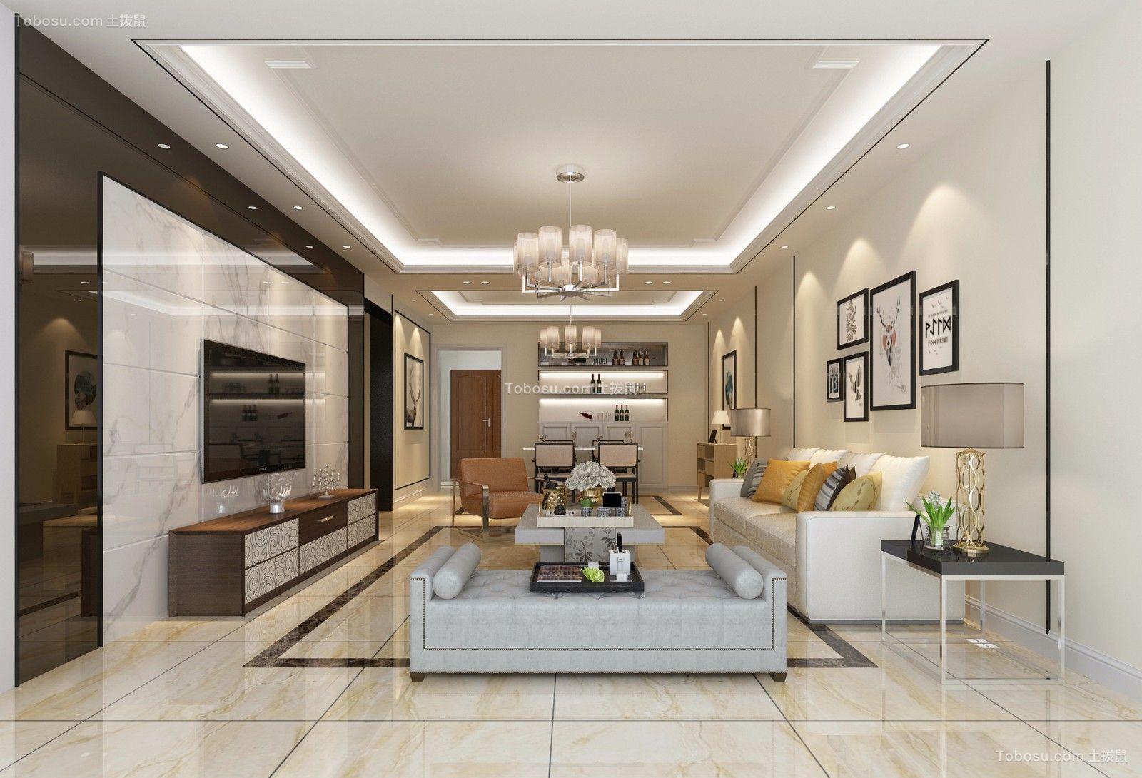 102平现代风格三居室装修效果图