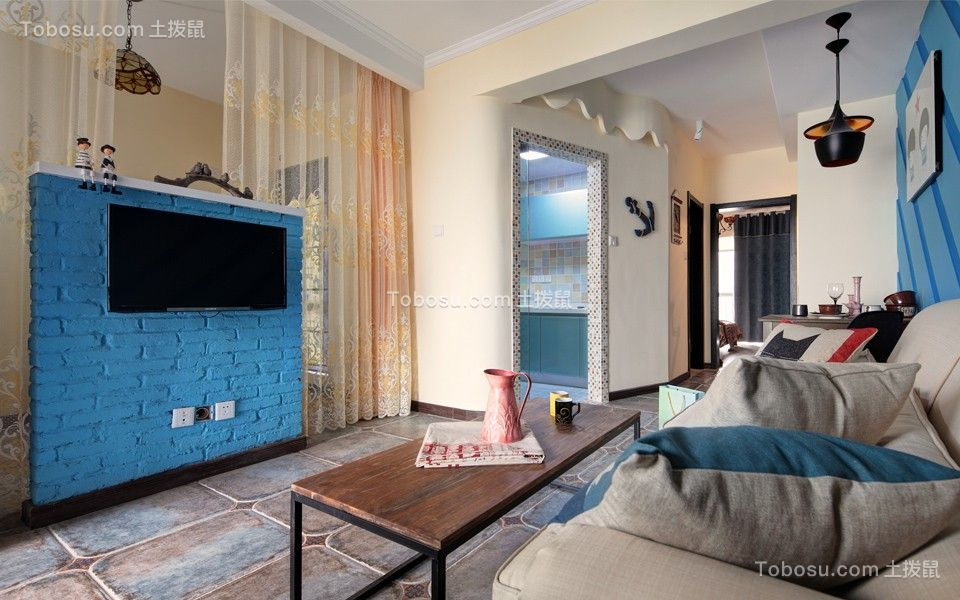 67平混搭风格两居室装修效果图