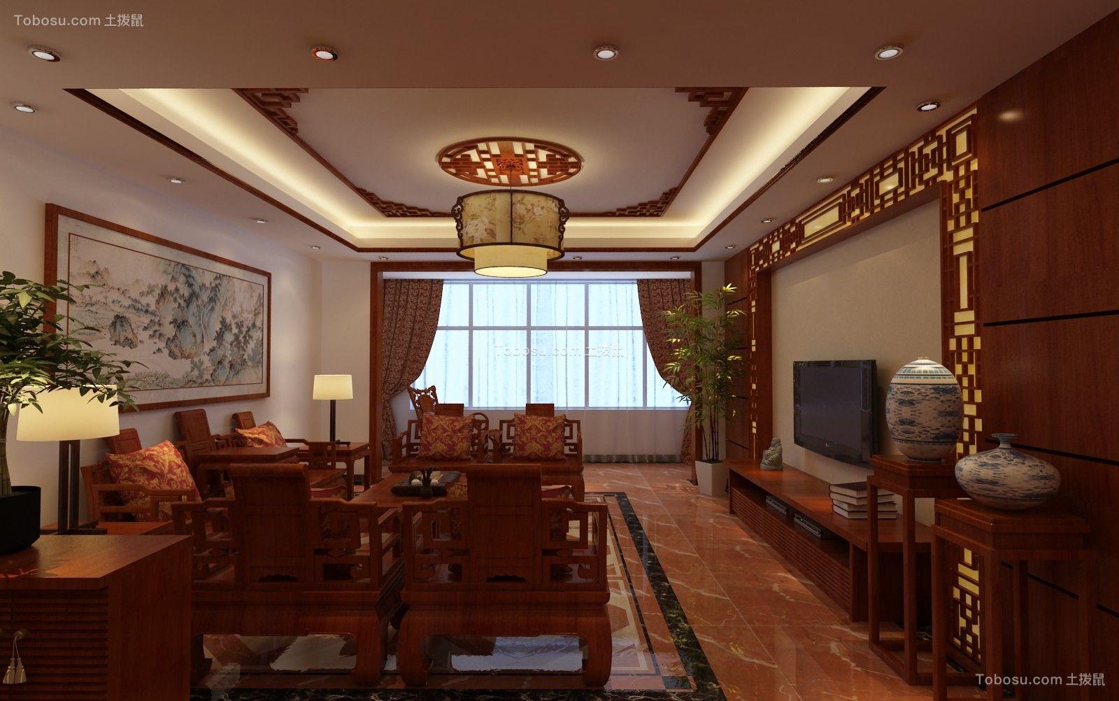 133平中式风格四居室装修效果图
