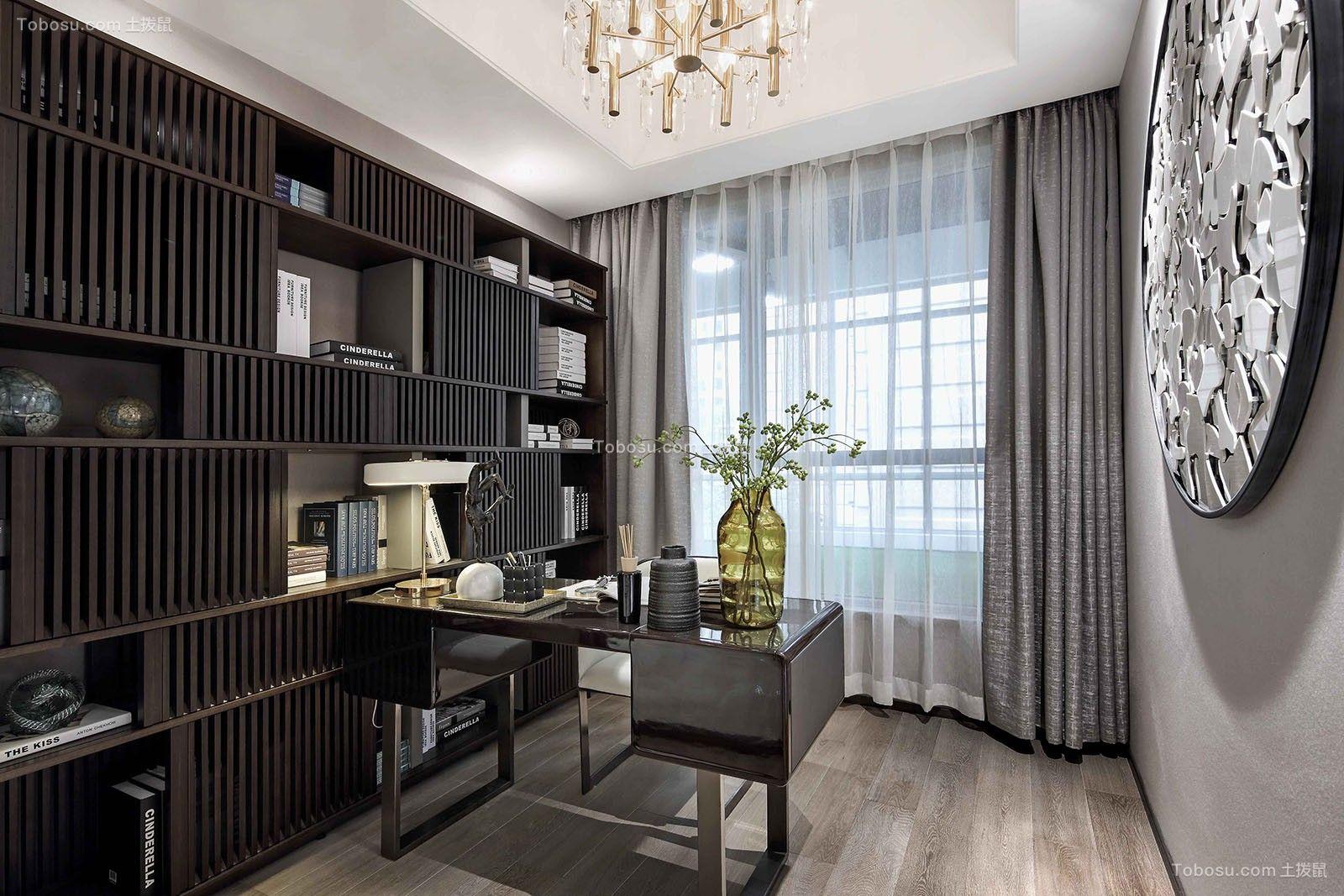 书房黑色书桌中式风格装饰效果图