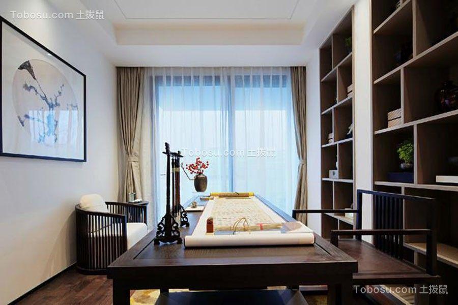 书房咖啡色书桌中式风格装潢图片