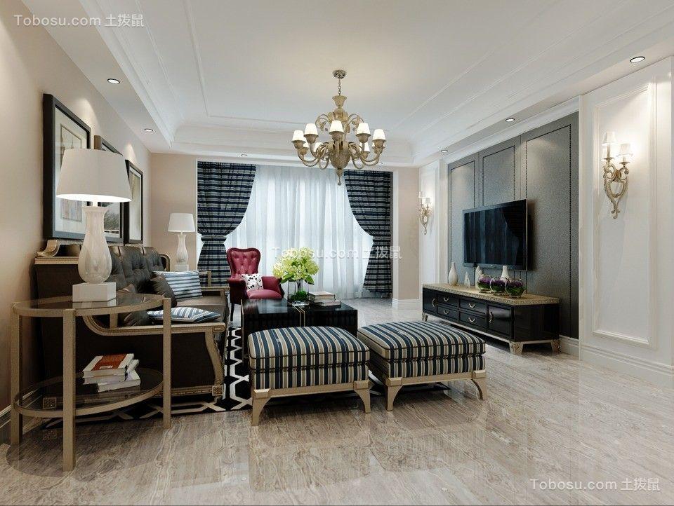 107平美式风格三居室装修效果图