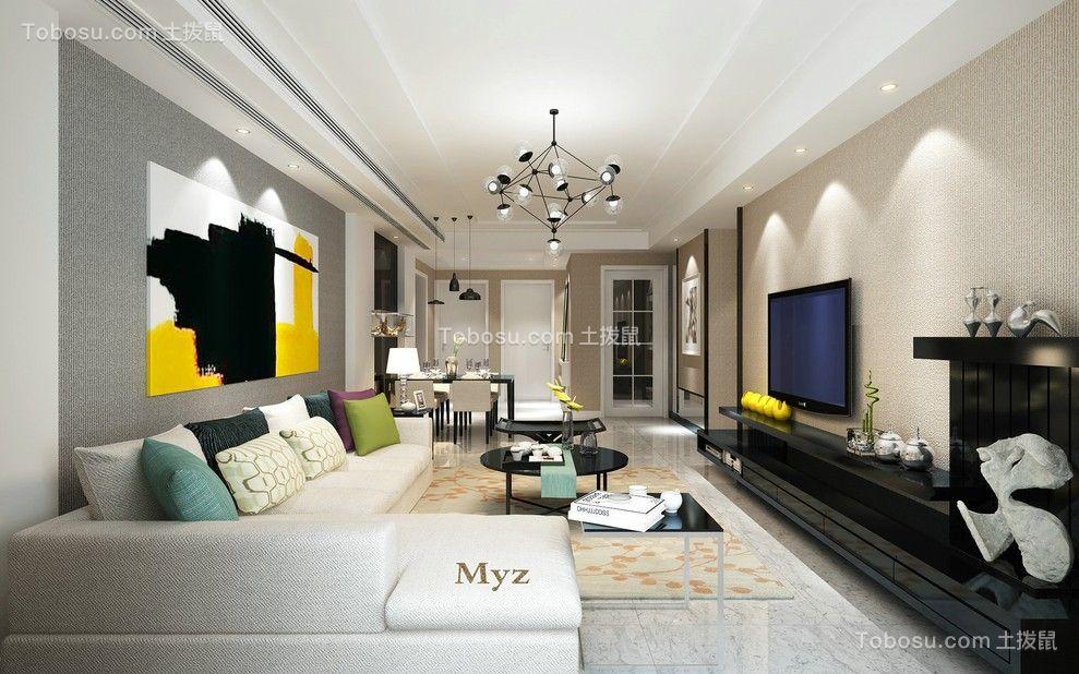 131平现代风格三居室装修效果图