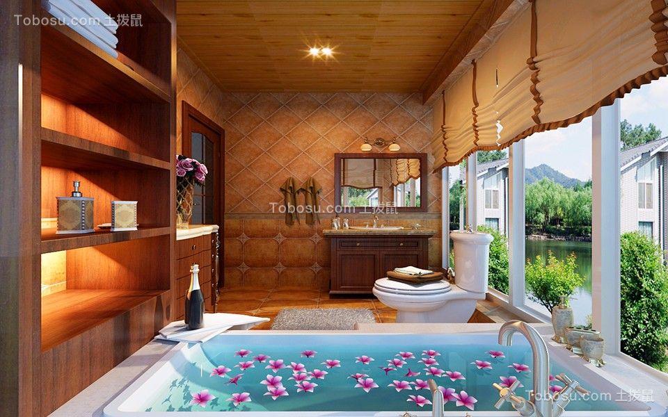 浴室浴缸美式装修实景图