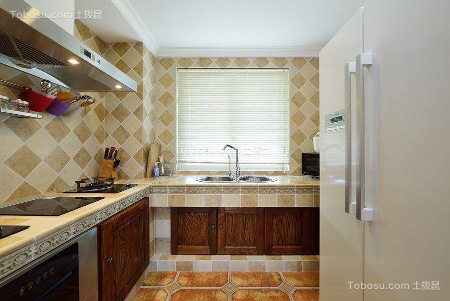 厨房黄色橱柜中式古典风格装潢效果图