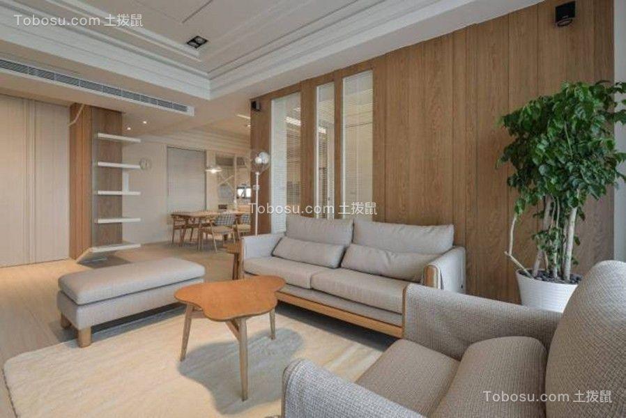客厅咖啡色背景墙日式风格装潢图片