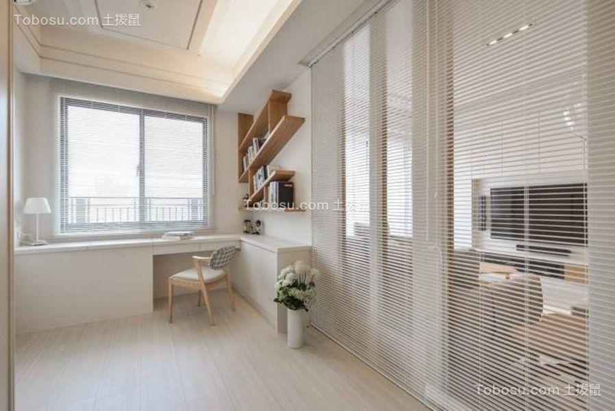 书房白色书桌日式风格装修效果图