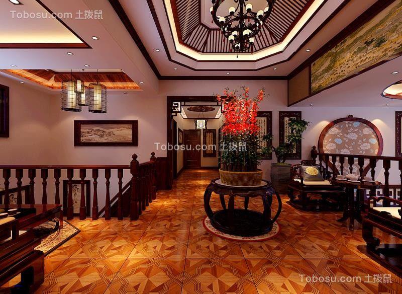 客厅彩色吊顶中式风格装潢图片