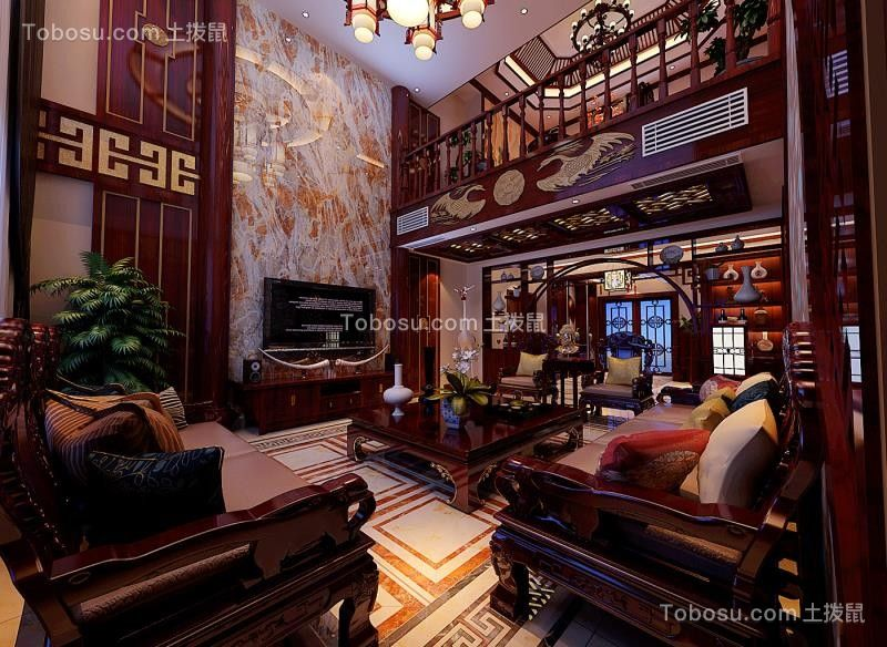 客厅红色电视柜中式风格装修设计图片