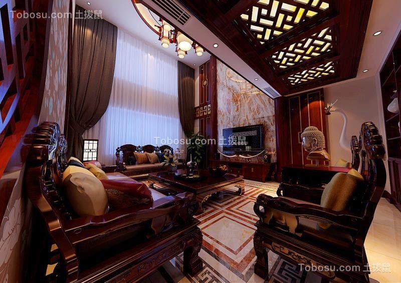 客厅咖啡色窗帘中式风格装饰设计图片