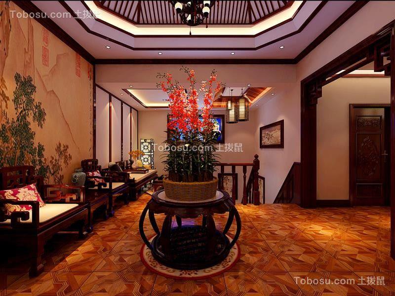 客厅黄色背景墙中式风格装潢设计图片