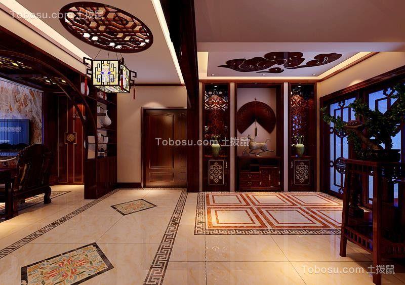 玄关米色地砖中式风格效果图