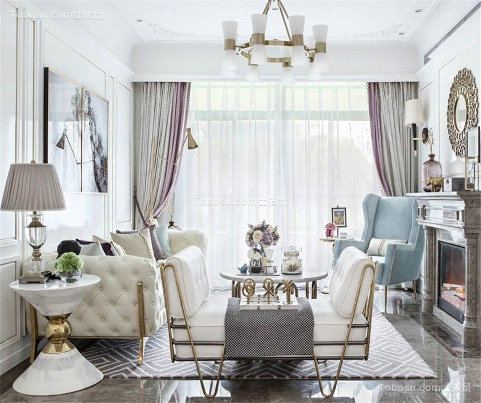 90平法式风格三居室装修效果图